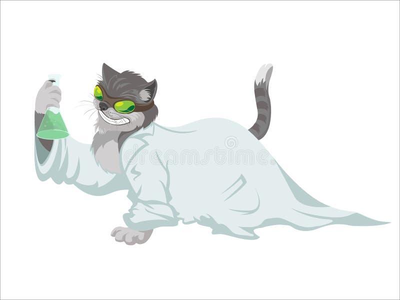 Gato do cientista ilustração stock