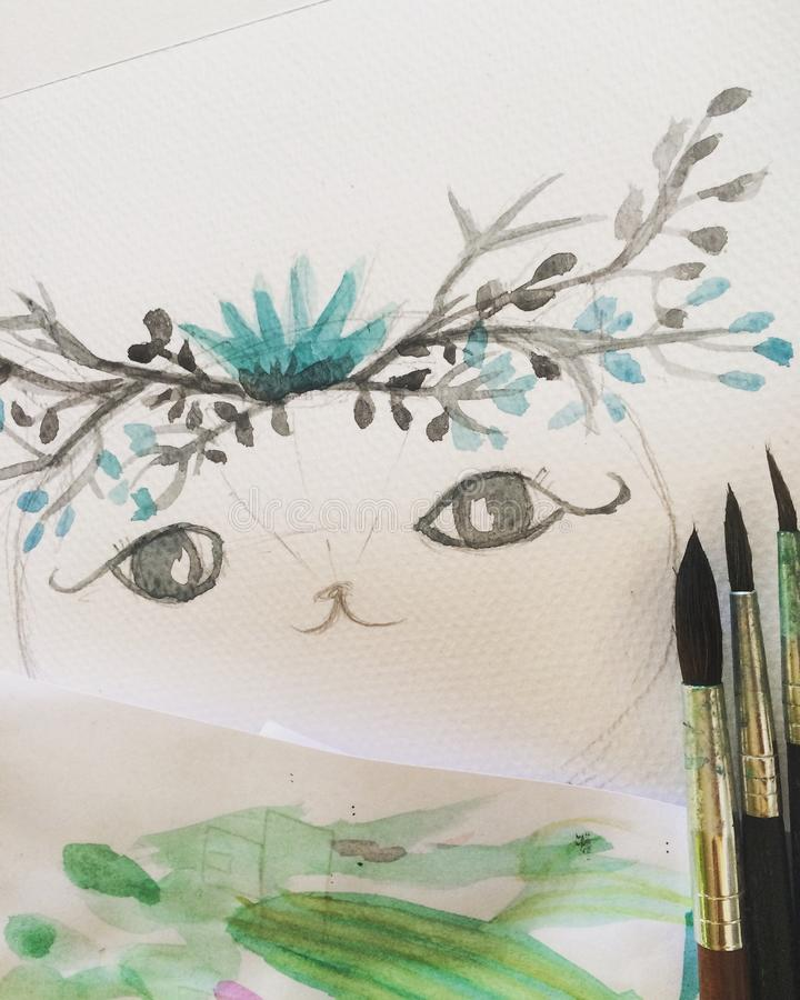 gato do cutie ilustração royalty free