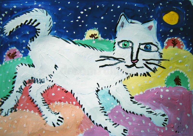 Gato do inverno pintado pela criança ilustração do vetor