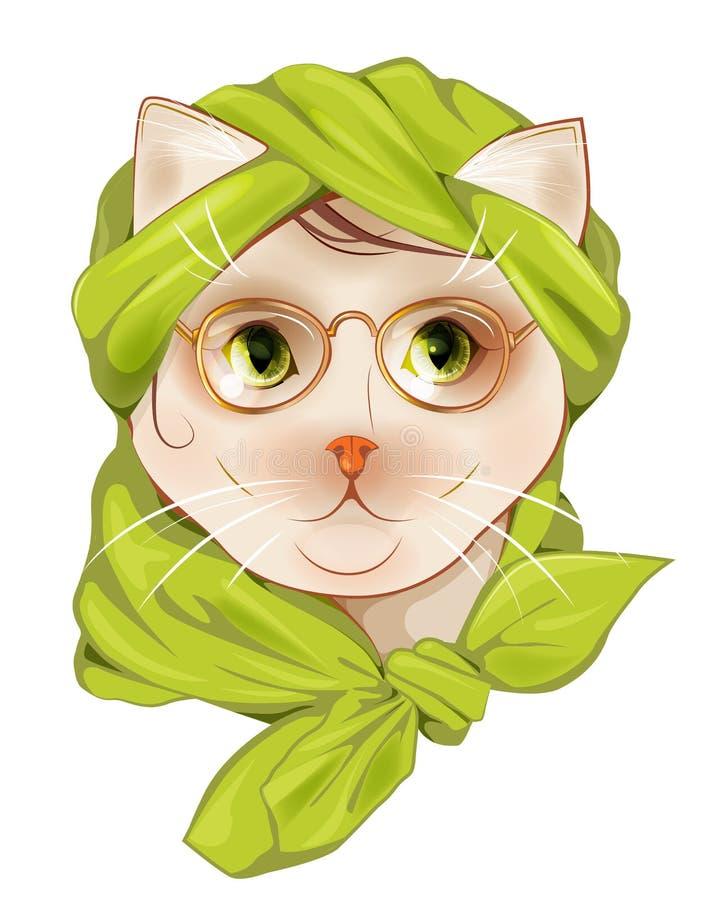 Gato do moderno com o lenço do vidro e o de seda ilustração do vetor