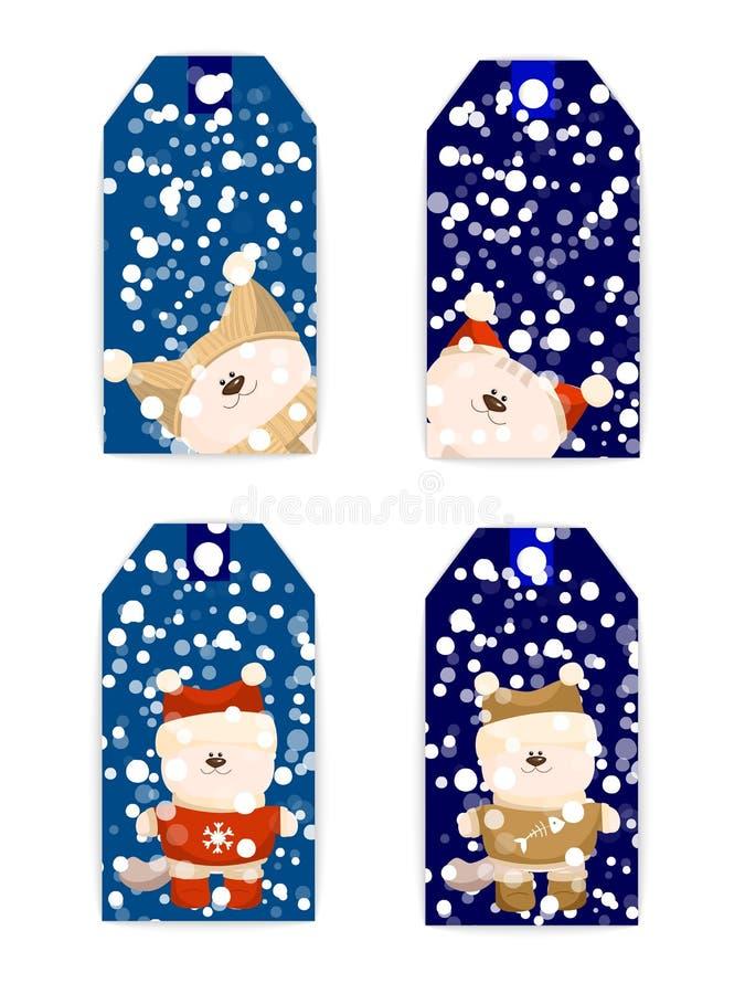 Gato do Natal do cartão da etiqueta da etiqueta ilustração royalty free