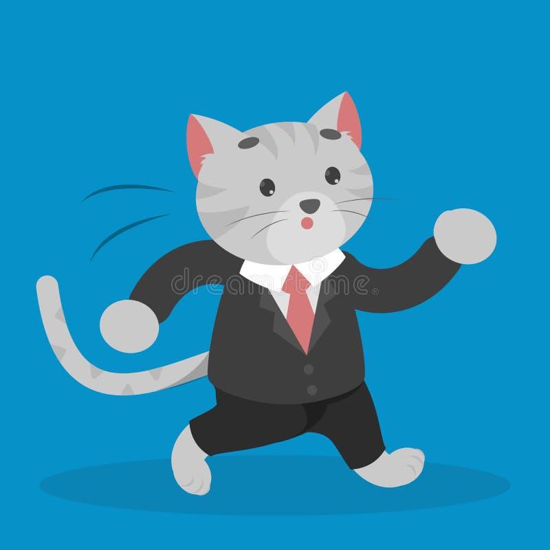 Gato do negócio em um caráter dinâmico rápido da corrida do terno ilustração royalty free