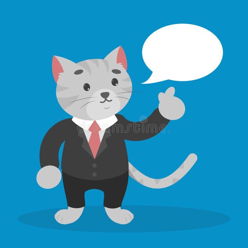 Gato do negócio em uma conversa do terno com bolha do discurso ilustração royalty free