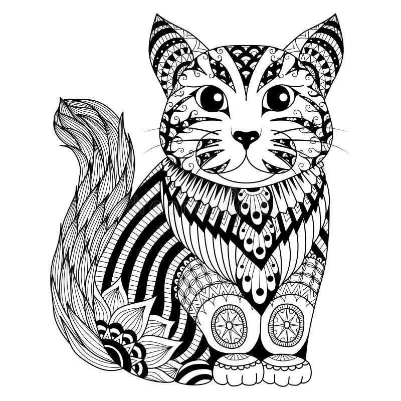 Gato do zentangle do desenho para a página colorindo, o efeito do projeto da camisa, o logotipo, a tatuagem e a decoração ilustração stock