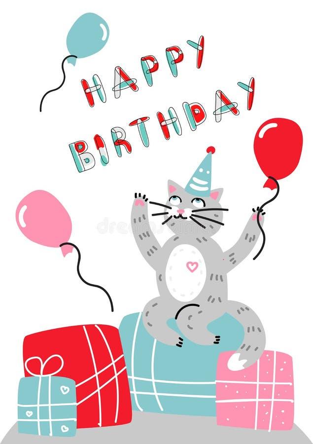 Gato dos desenhos animados do cartão do feliz aniversario do vetor ilustração do vetor