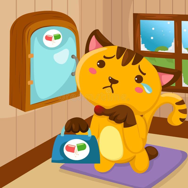 Gato dos desenhos animados ferido ilustração royalty free