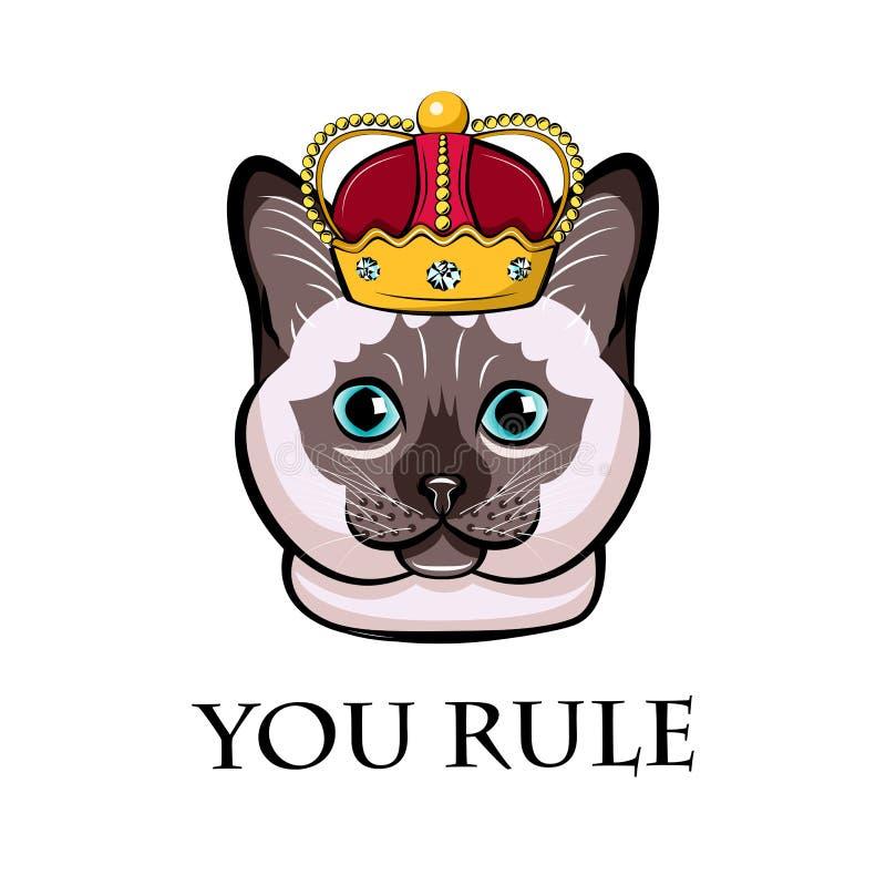 Gato dos desenhos animados na coroa Gato Siamese, gato tailandês Ilustração do vetor ilustração do vetor