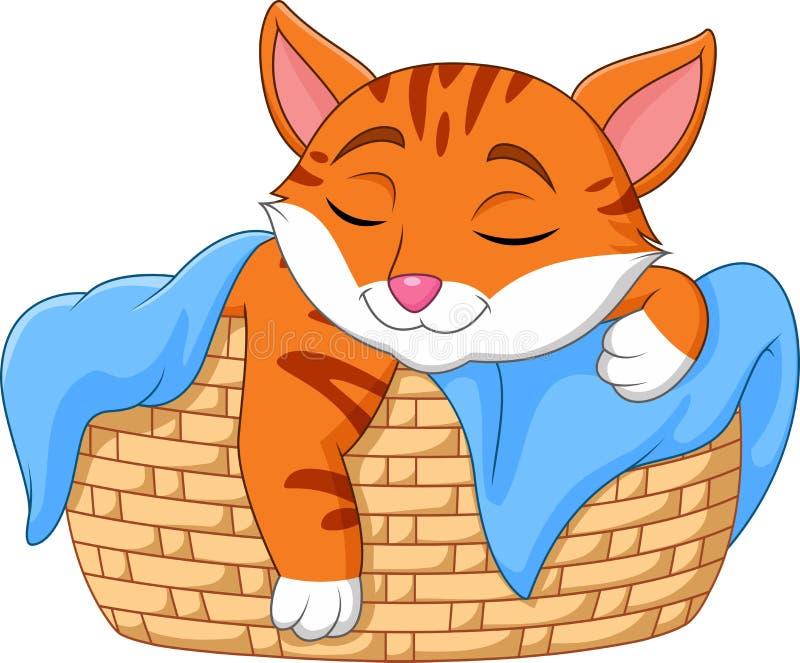 Gato dos desenhos animados que dorme na cesta ilustração do vetor
