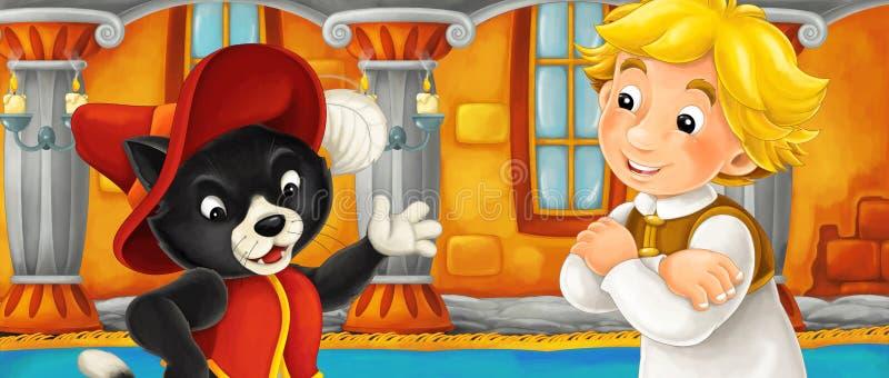 Gato dos desenhos animados que fala com algum menino do fazendeiro no castelo ilustração do vetor