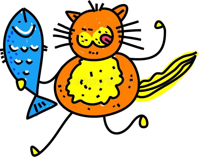 Gato dos peixes ilustração do vetor