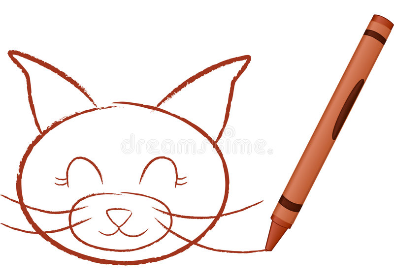 Gato drenado creyón libre illustration