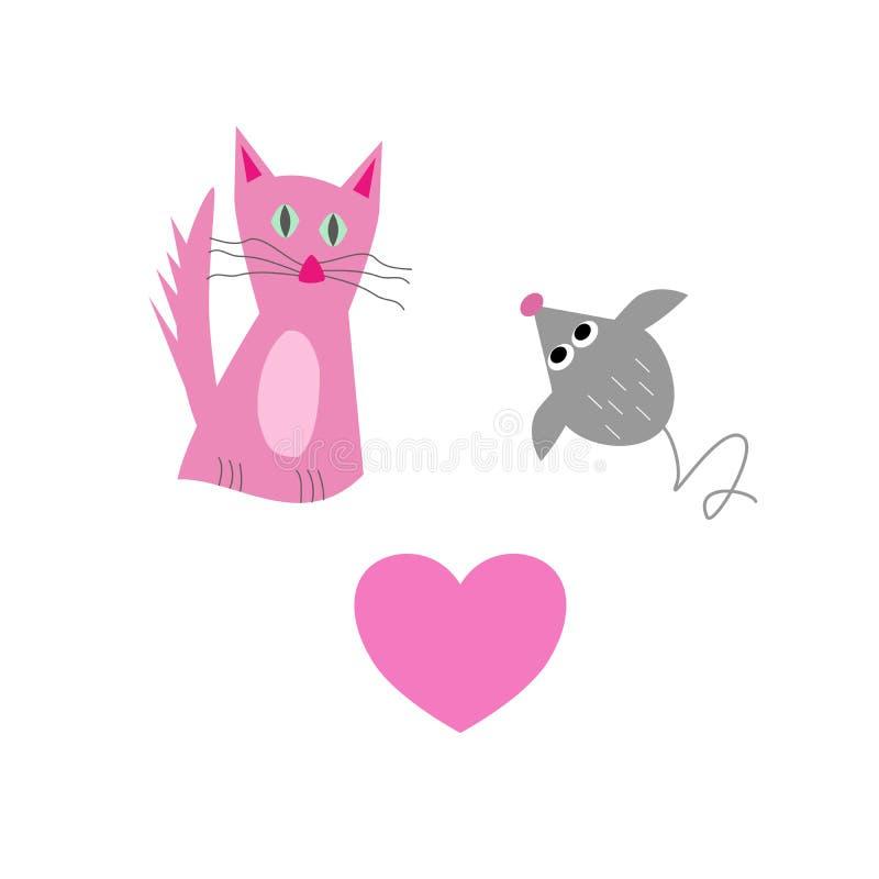 Gato dulce con el ratón y el corazón libre illustration