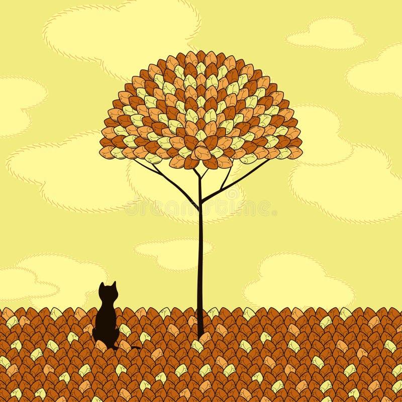 Gato e árvore sós ilustração do vetor