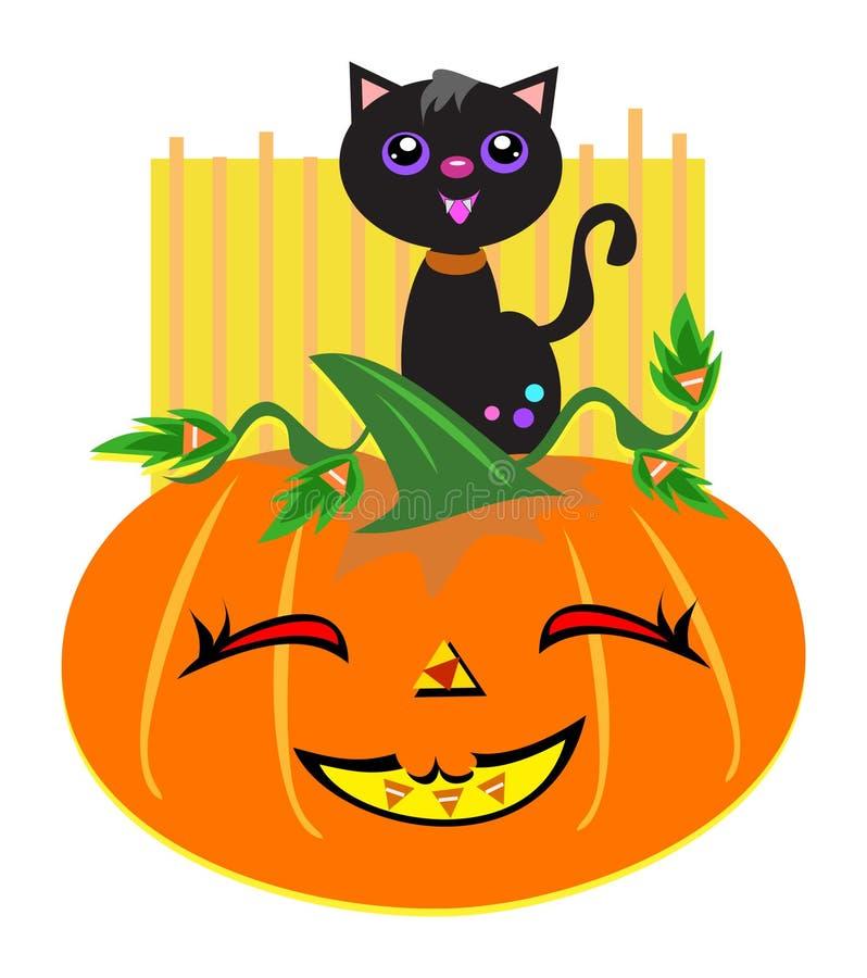 Gato e abóbora felizes de Halloween ilustração royalty free