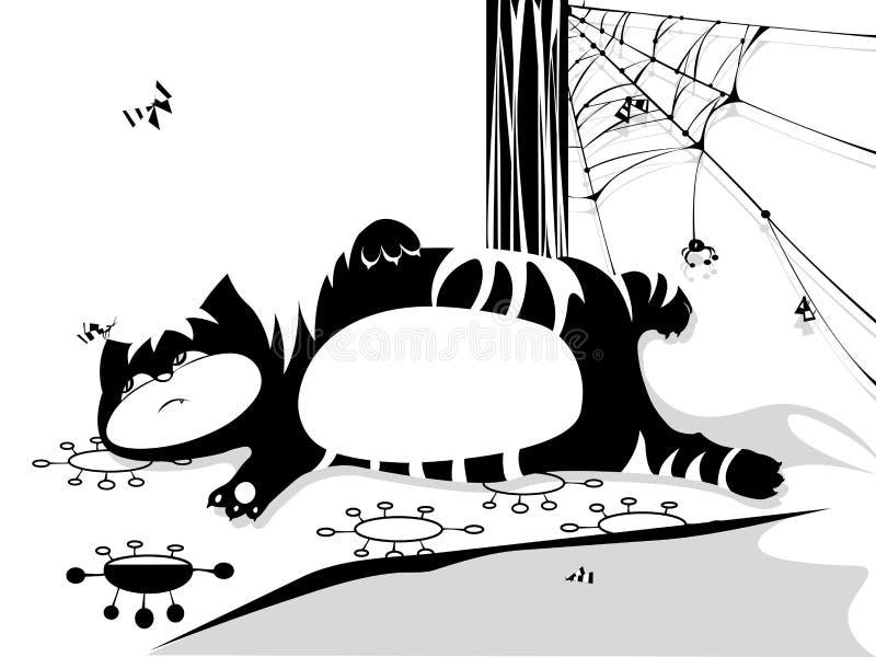 Gato e borboleta ilustração royalty free