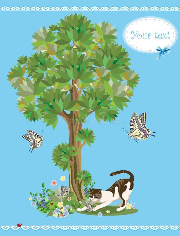 Gato e borboletas ilustração royalty free