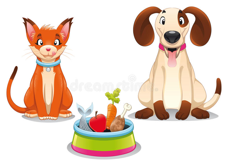 Gato e cão com alimento. ilustração stock