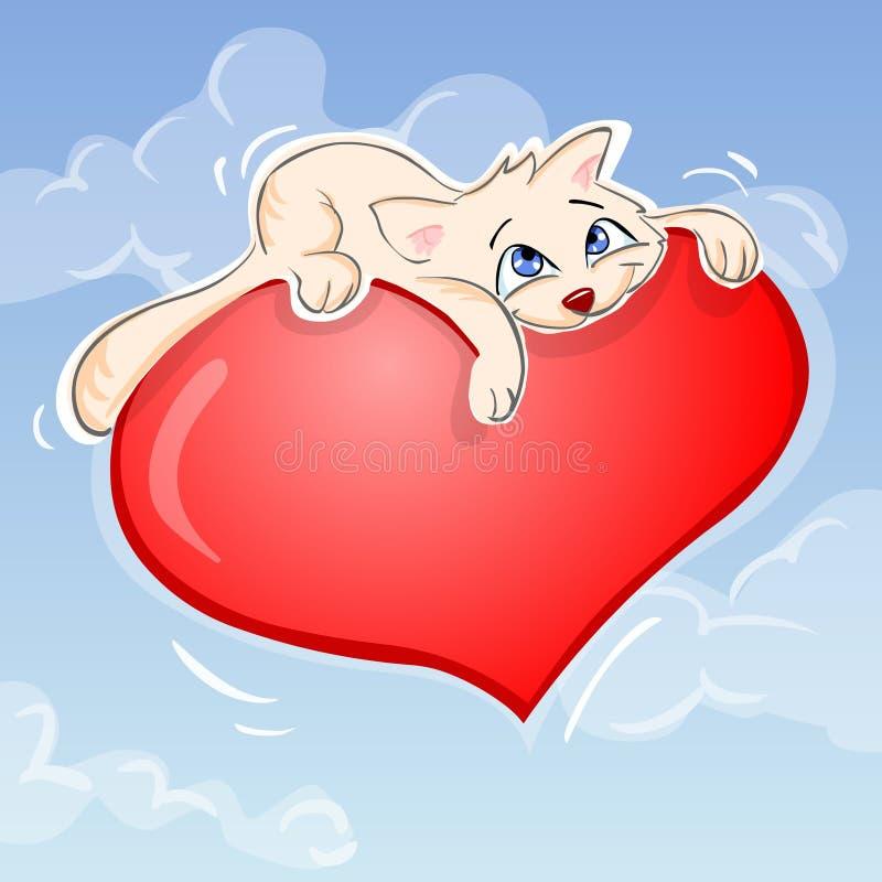 Gato e coração ilustração do vetor