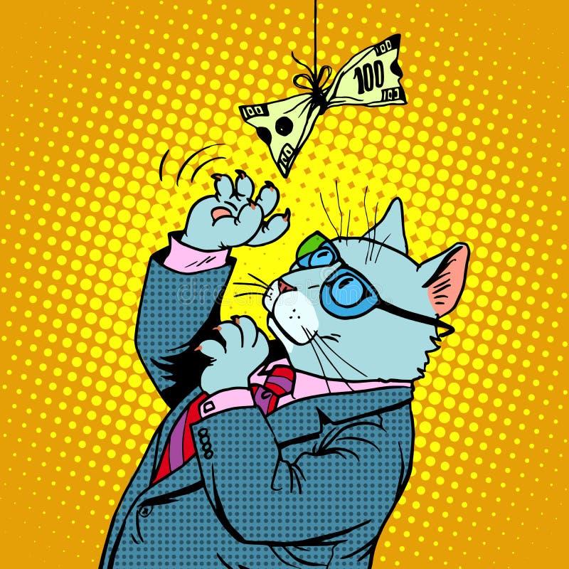 Gato e dinheiro do negócio ilustração royalty free