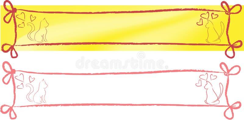 Gato e engranzamento do whit da bandeira ilustração stock