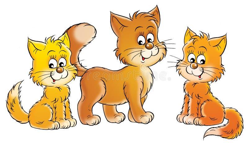 Gato e gatinhos ilustração do vetor