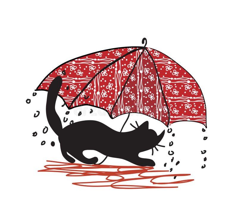 Gato e guarda-chuva - mau tempo ilustração royalty free
