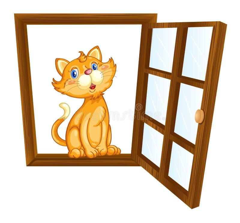 Gato e janela ilustração do vetor