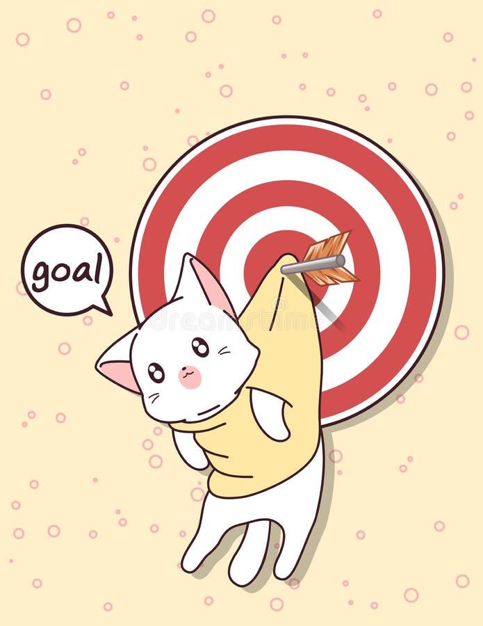Gato e objetivo de Kawaii com seta ilustração stock