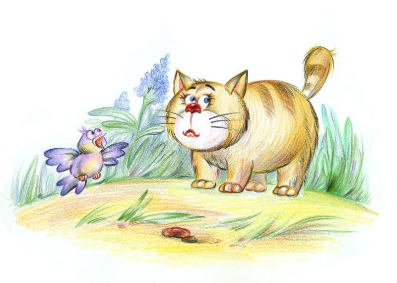 Gato e pássaro ilustração royalty free