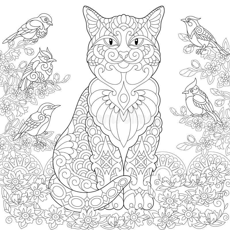 Gato e pássaros de Zentangle ilustração royalty free