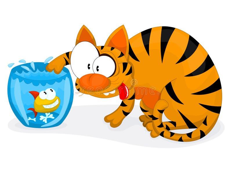 Gato e peixes ilustração stock