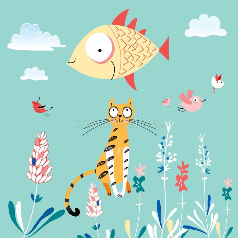 Gato e peixes ilustração royalty free