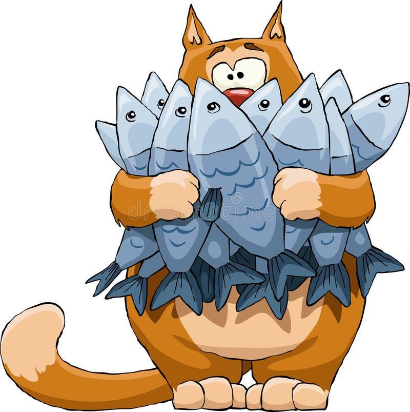 Gato e peixes ilustração do vetor