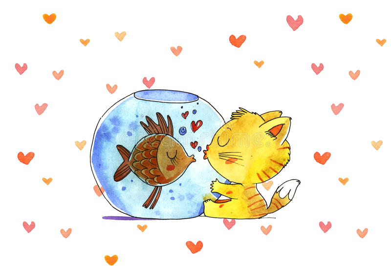Gato e peixes no aquário Ilustração da aguarela fotos de stock royalty free