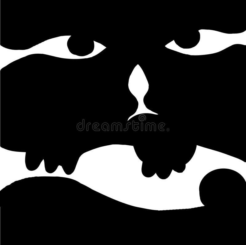 Gato e peixes, preto e branco imagens de stock royalty free