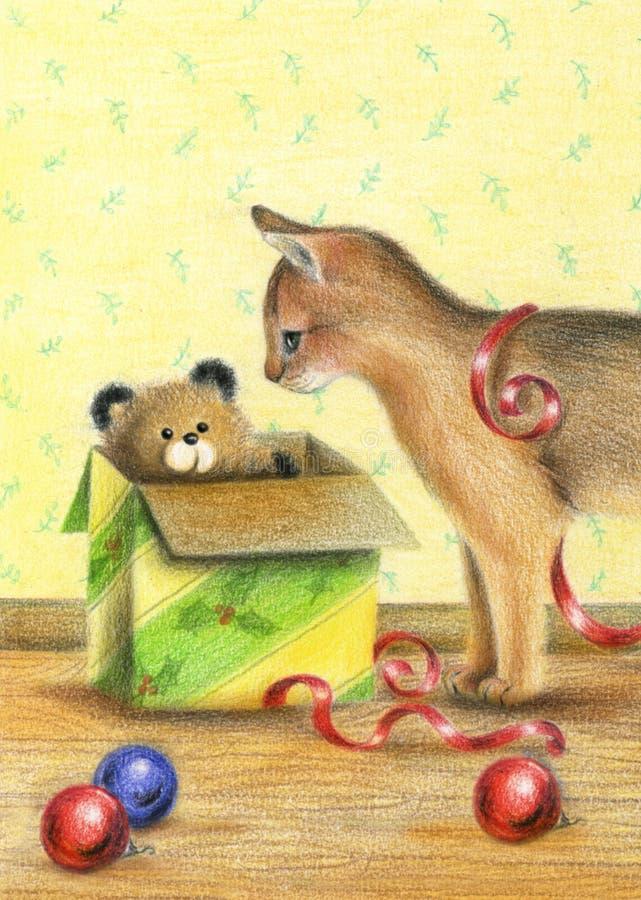 Gato e presente do Natal - arte -final ilustração do vetor