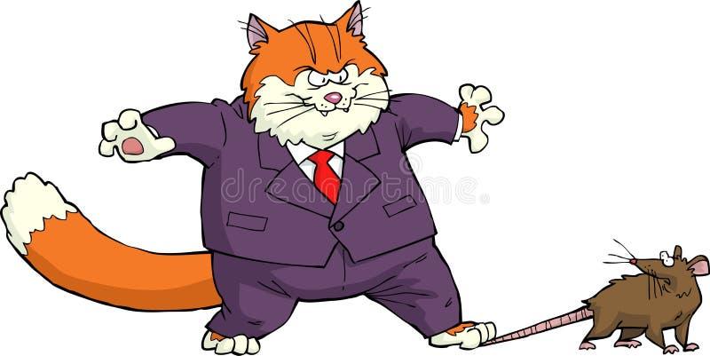 Gato e rato ilustração royalty free