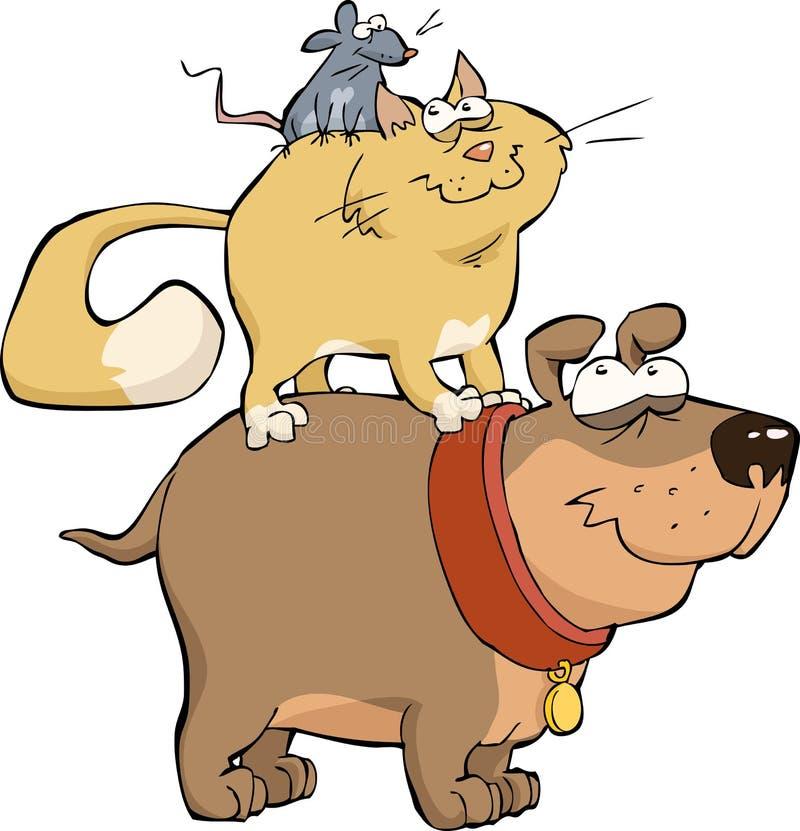 Gato e rato do cão ilustração royalty free