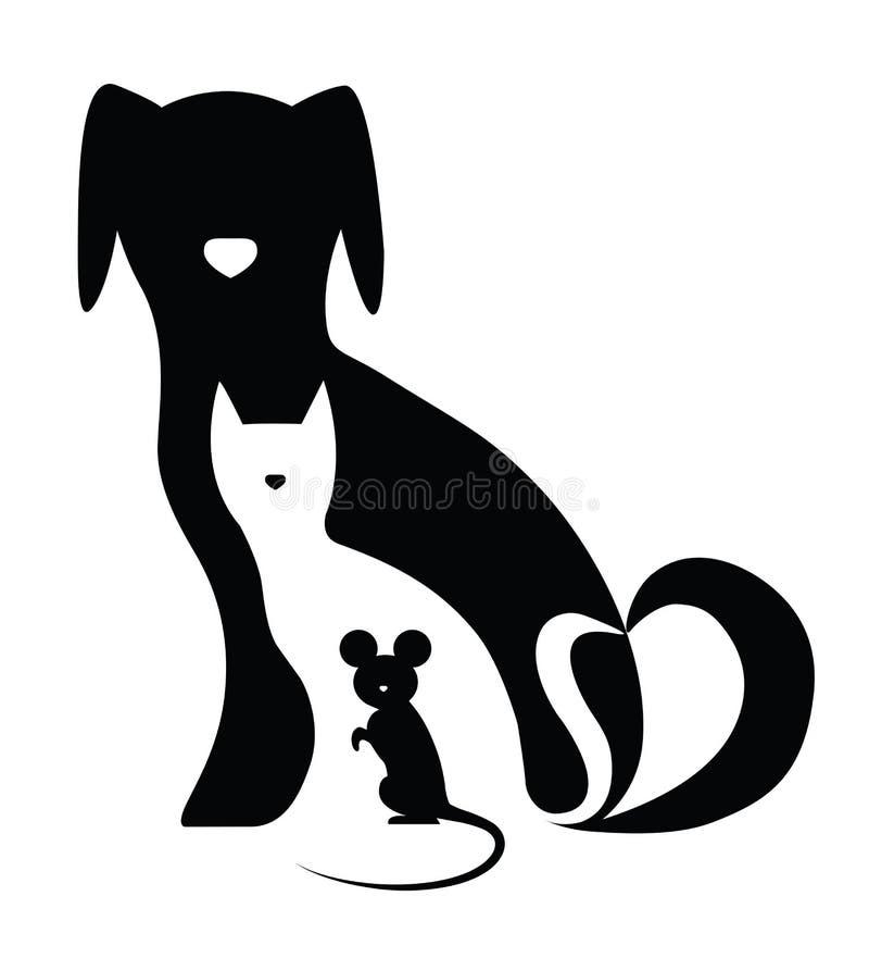 Gato e rato do cão ilustração do vetor