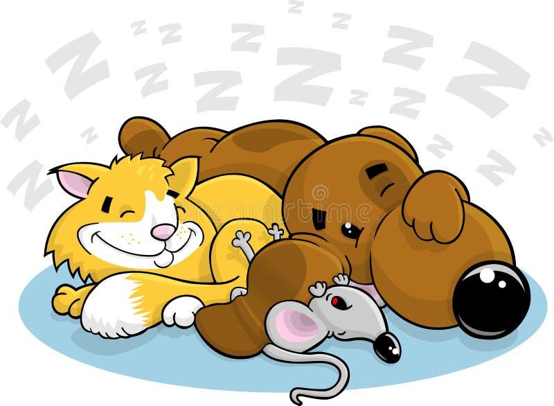 Gato e rato do cão dos desenhos animados ilustração stock