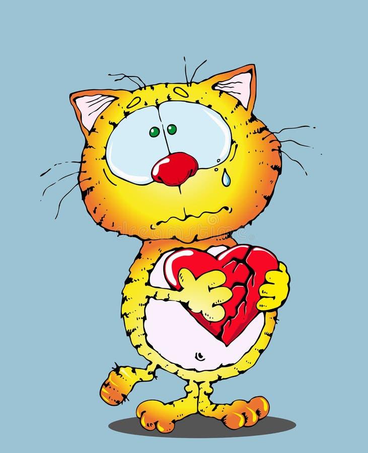 Gato e um coração quebrado ilustração do vetor