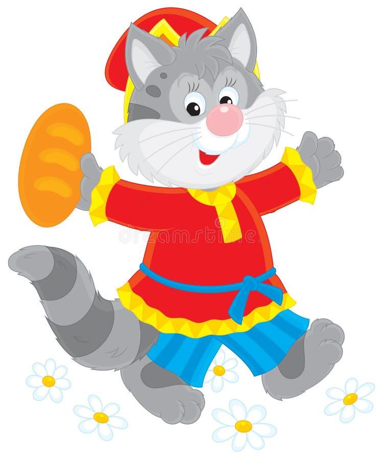 Gato e um naco ilustração stock