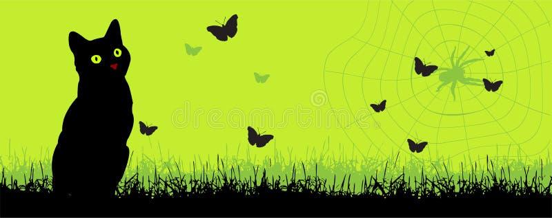 Gato e um spiderweb ilustração do vetor