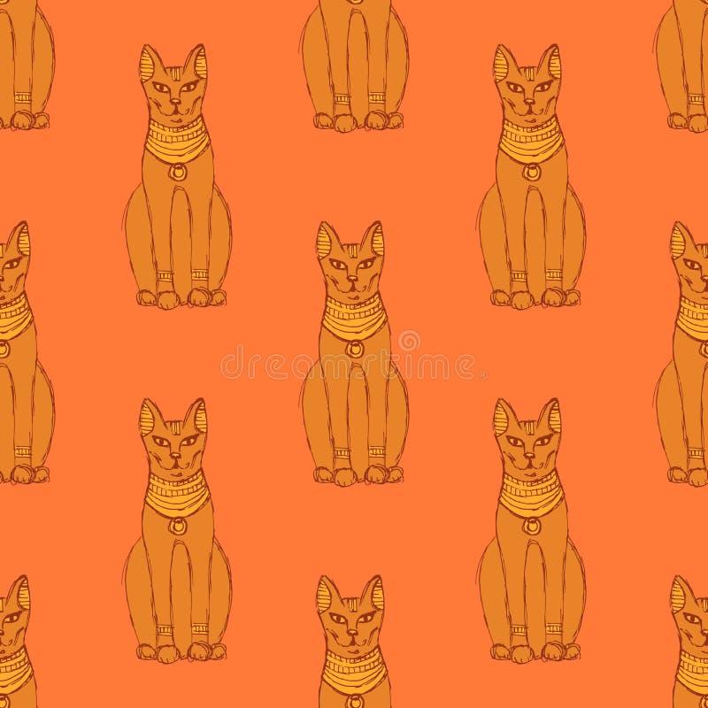 Gato egípcio do esboço no estilo do vintage ilustração stock