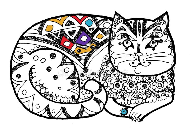 Gato elegante, página colorindo, cor dentro imagens de stock royalty free