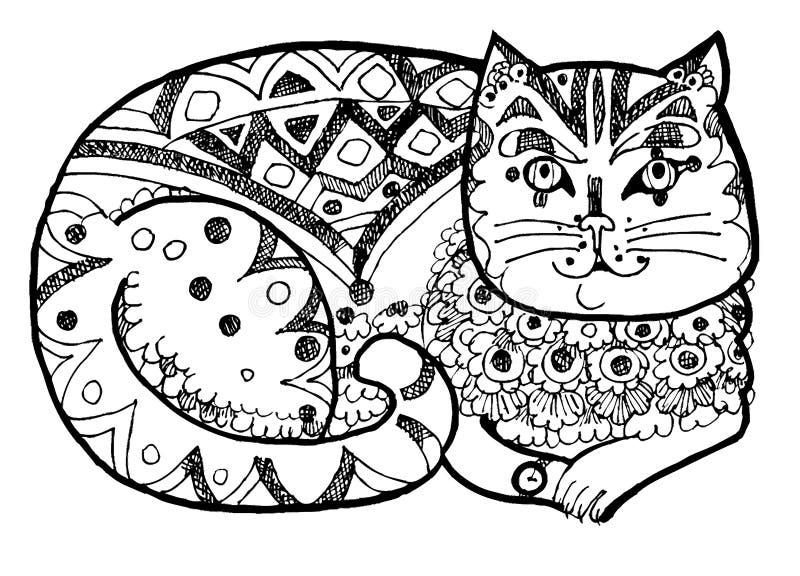 Gato elegante, página colorindo, preto e weis imagens de stock