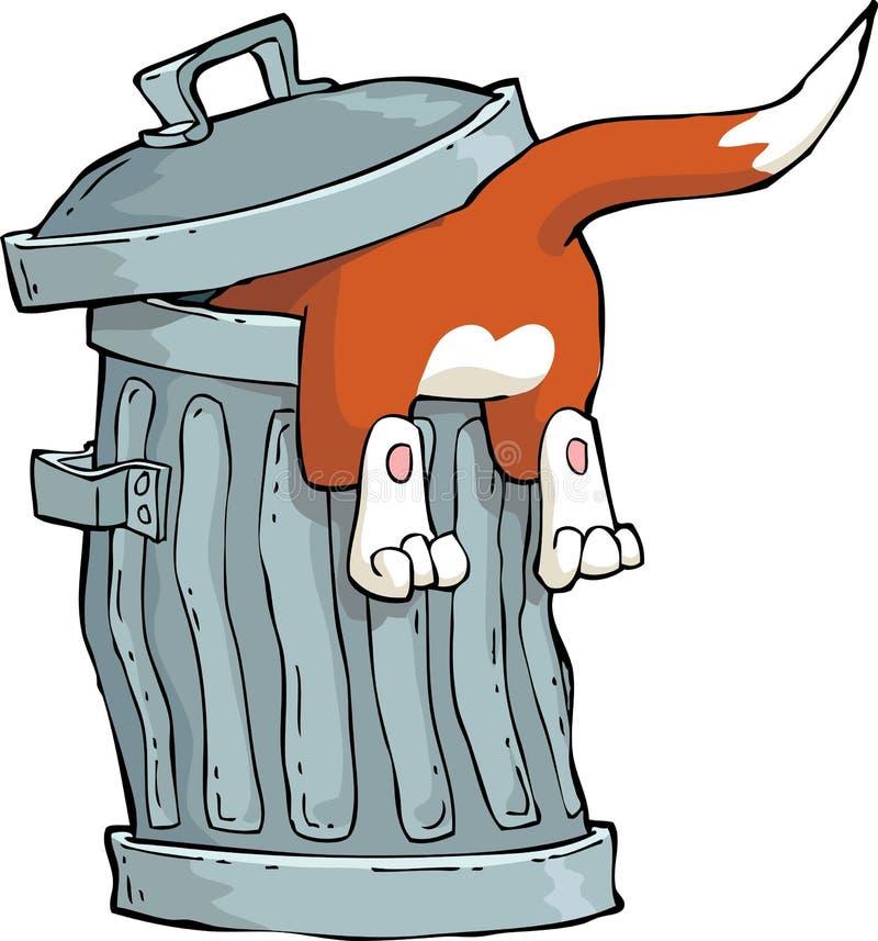 Gato em um lixo ilustração royalty free