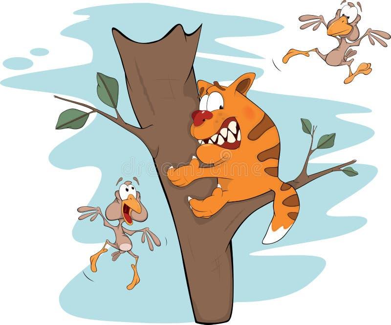Gato em uma árvore e pássaros. Desenhos animados ilustração stock