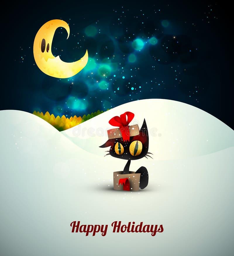Gato en caja de regalo solamente en la nieve bajo claro de luna stock de ilustración