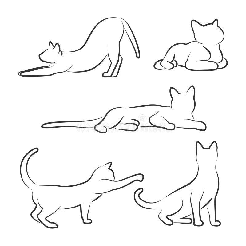 Gato en diversas actitudes Bosquejo de un gato Dibujo de esquema stock de ilustración